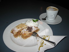 Apple strudel and coffee, Prague, Czech Republic