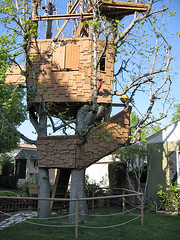 art, outdoor structure, tree, yard, tree house,