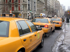 New York. Fifth Avenue. Taxis
