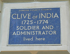 Photo of Robert Clive blue plaque