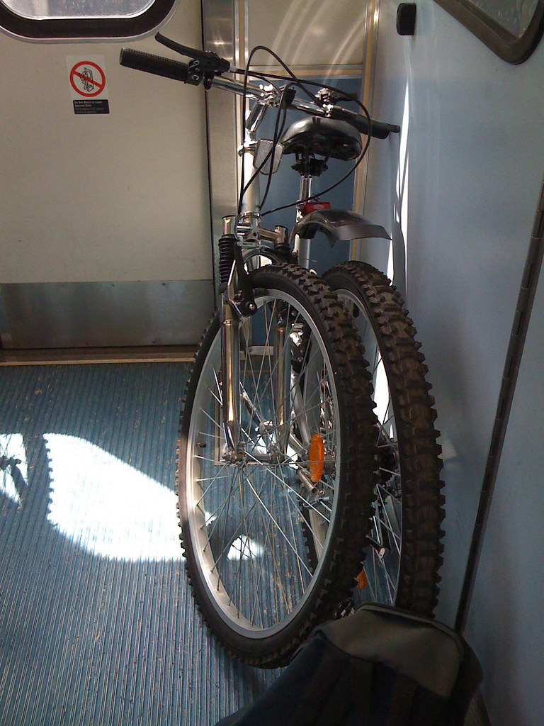Folded Bike on Blue Line