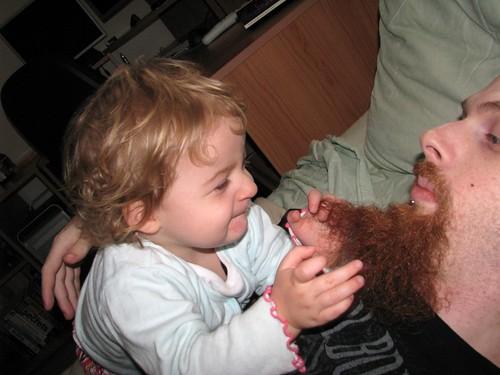 Pulling dad's beard