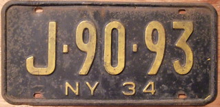 NEW YORK 1934 LICENSE PLATE