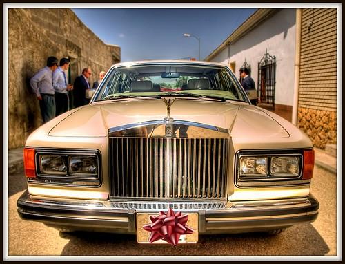 The wedding car...a Rolls Royce!