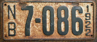 NEW BRUNSWICK 1922 license plate