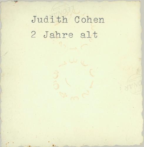Frau Fritz Wassermann - Judith Cohen reverse