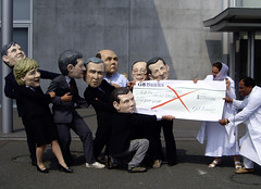 The Oxfam Big Heads at the Japan G8 - Health Performance