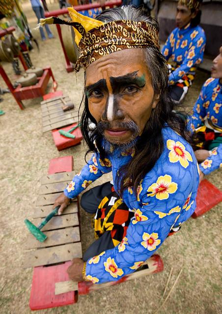 Borobudur musician in traditional suit, Java, Indonesia