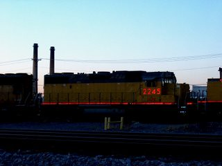 Relective red markings. The Union Pacific M-19A Diesel Shop. Chicago Illinois. November 2007. by Eddie from Chicago