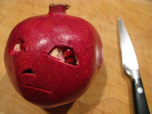 Unique jack o lantern idea pomegranate bunch