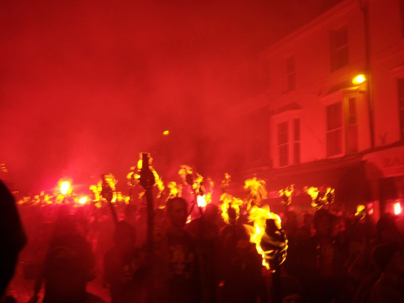 The procession Battle bonfire march. Robertsbridge to Battle walk