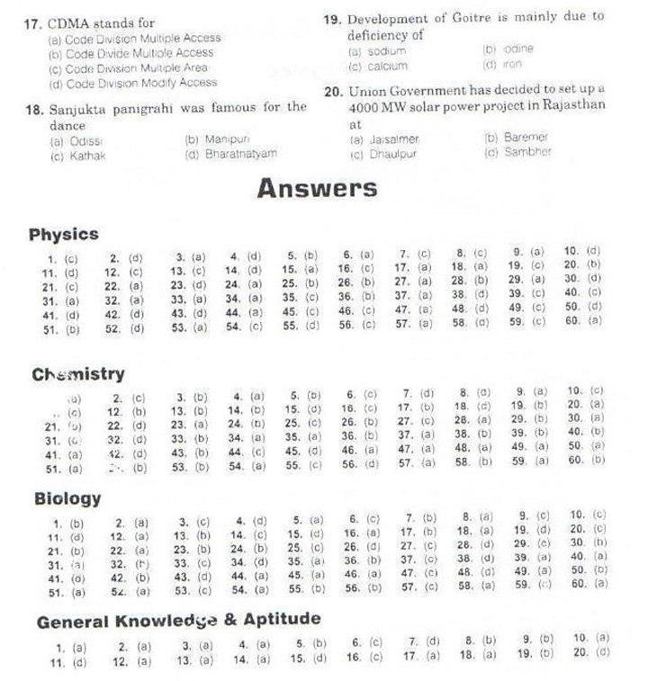 AIIMS MBBS 2013 Question Paper with Answers