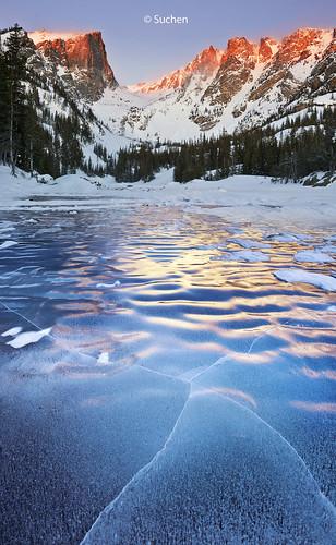 park blue mountain lake ice sunrise frozen dream rocky national alpenglow
