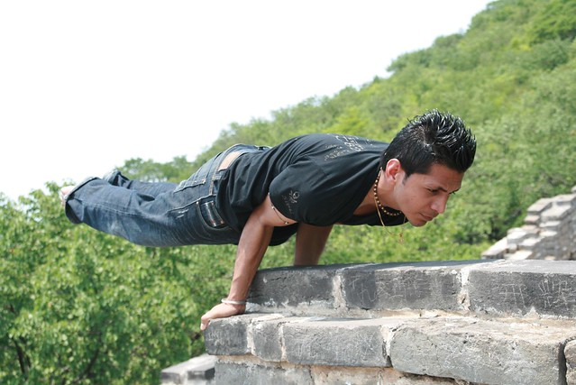 Yoga session on Great Wall