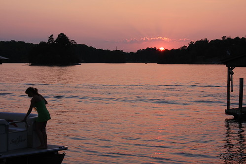 sun house lake water boat north sunsets norman carolina elsie pontoon