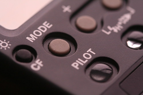 close up of a flash for a canon camera