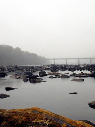 bridge mist water fog river rocks horizon peaceful calm desaturated across sirene greeneyephoto