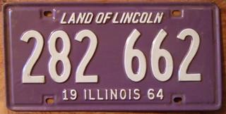 ILLINOIS 1964 LICENSE PLATE 282-662
