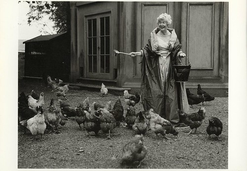 GB - The Duchess of Devonshire Feeding Her Chickens Photographed By Bruce Weber, Chatsworth, England, United Kingdom