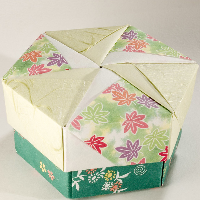 decorative hexagonal origami gift box with lid 14. Black Bedroom Furniture Sets. Home Design Ideas