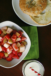 summer fruit salad with lime-vanilla bean simple syrup