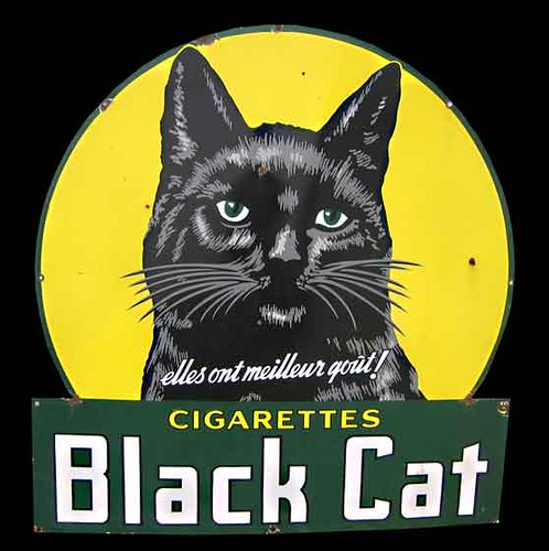 Black Cat Cigarettes Enamel Sign