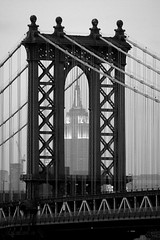 Empire State through Manhattan Bridge - B/W