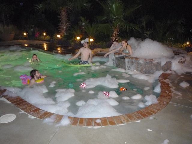 Backyard Pool At Night : Night pool party for my son and his friends  Flickr  Photo Sharing!