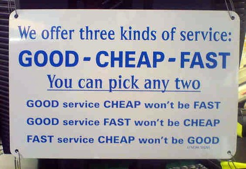 Good - Cheap - Fast: Pick Any Two