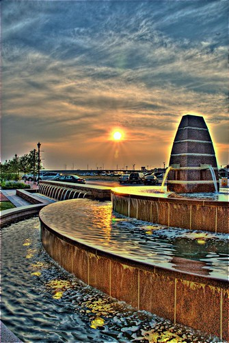 sunset sky water fountain dallas interestingness interesting nikon texas cityhall tx craig dfw jpg jpeg frisco friscosquare cmaccubbin maccubbin craigmaccubbin