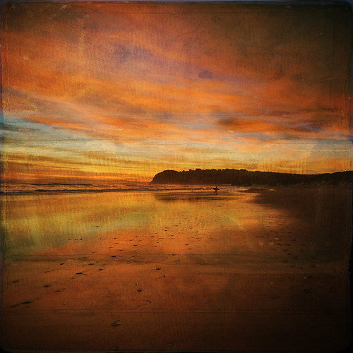 sunset sea newzealand sky beach clouds reflections square sand surfer nz otago dunedin stkilda bsquare memoriesbook ©borealnz