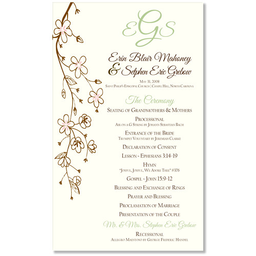 Cherry Blossom Themed Wedding Program