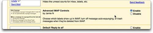 Screenshot showing Google Labs GMail Advanced I.M.A.P. Controls.