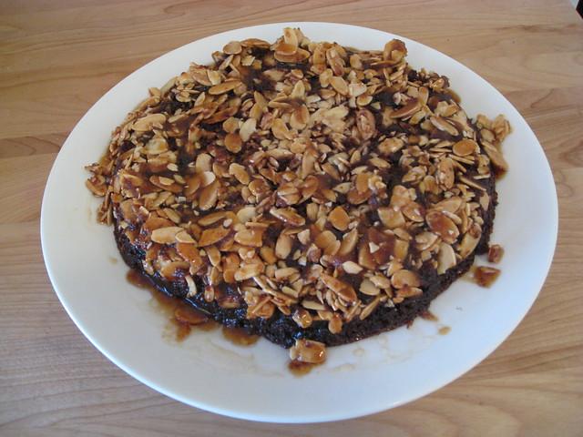 Gooey chocolate caramel almond upside-down cake | Flickr - Photo ...