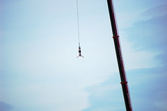 adventure, bungee jumping, recreation, outdoor recreation, line, extreme sport, blue, person, sky,