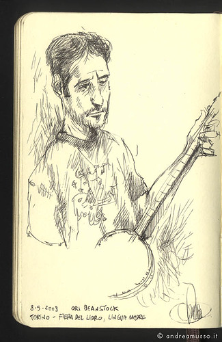 "Illustration live of Ori Beanstock of ""Esta"" on my Moleskine Music,  Andrea Musso Illustrator"