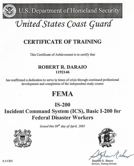 Daraio USCG FEMA ICS 200 Training Certificate   Robert Daraio   Flickr
