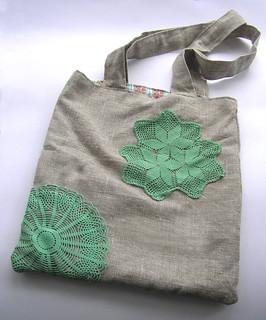 Linen doily bag