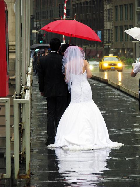 wet bride and groom