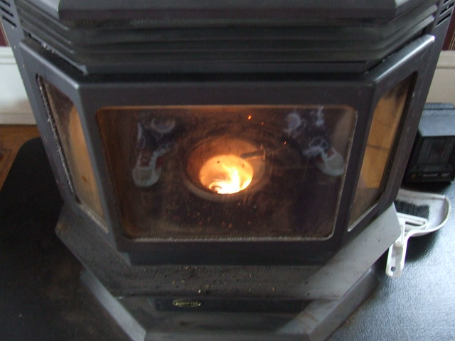 Pellet Stove Burning Corn