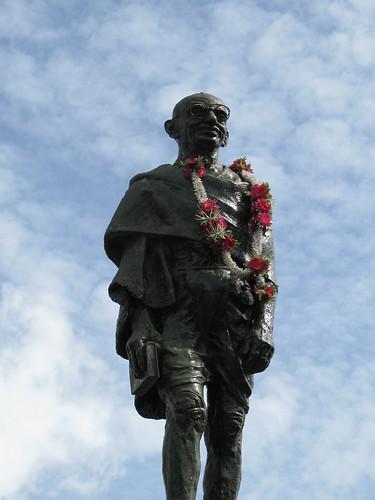 Statue of Mohandas Karamchand Gandhi on Harris Promenade, with mala.