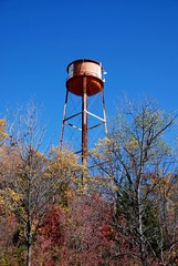 water tower, tree, autumn,