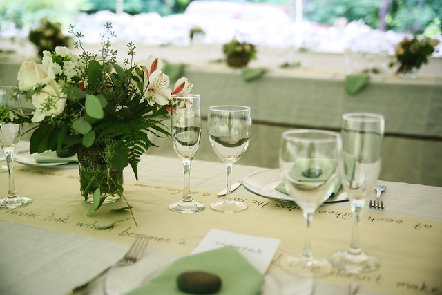 Wedding tablescape in green and white and cream