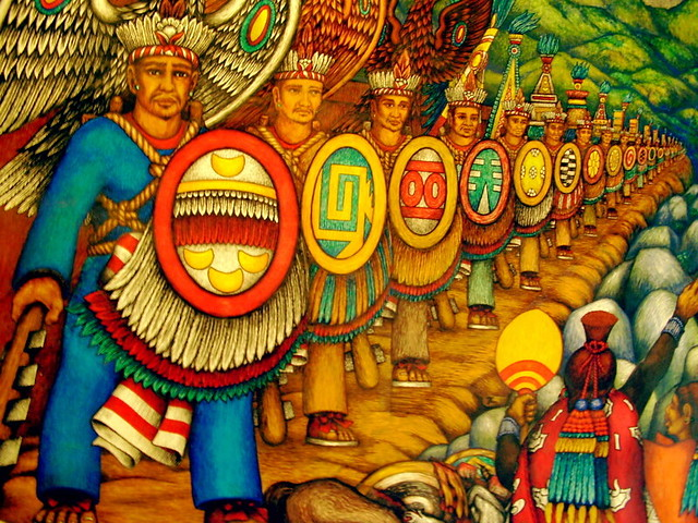 Mural aztec army flickr photo sharing for Aztec mural painting