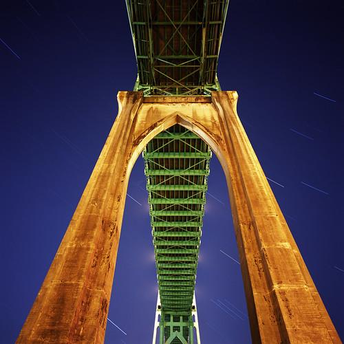 bridge blue urban night oregon square portland stars twilight colorful dusk gothic pacificnorthwest startrails sjb stjohnsbridge hasselbladswc acave bluemooncamera zebandrews whentheskyisfallingwhatbettershelteristhere bauhausrendezvous zebandrewsphotography