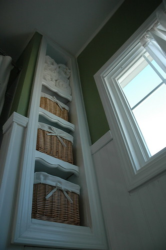 Filled Built-In Linen Bathroom Cubbies