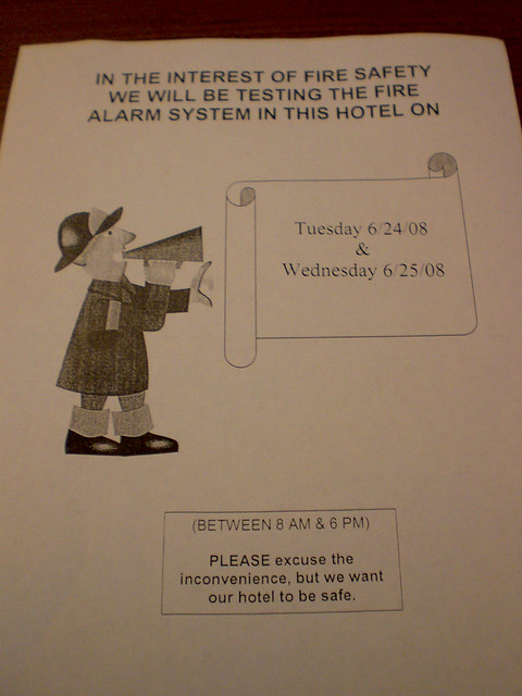 Dc Hotel Fire Alarm Test Notice