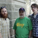 The Black Keys and Darren step outside near Keating Hall after recording an interview and session.