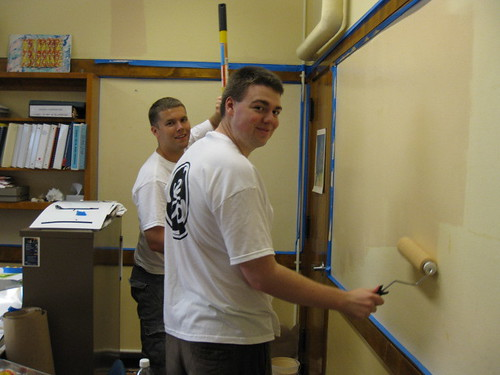 Team Brandon Painting the Social Worker's Office at Pulaski