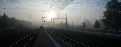 morning lines station fog sunrise switzerland railway grenchen